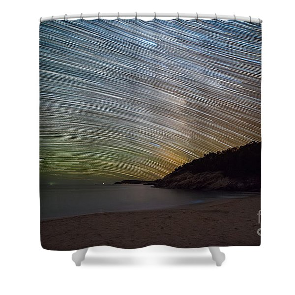 Sand Beach Startrails  Shower Curtain