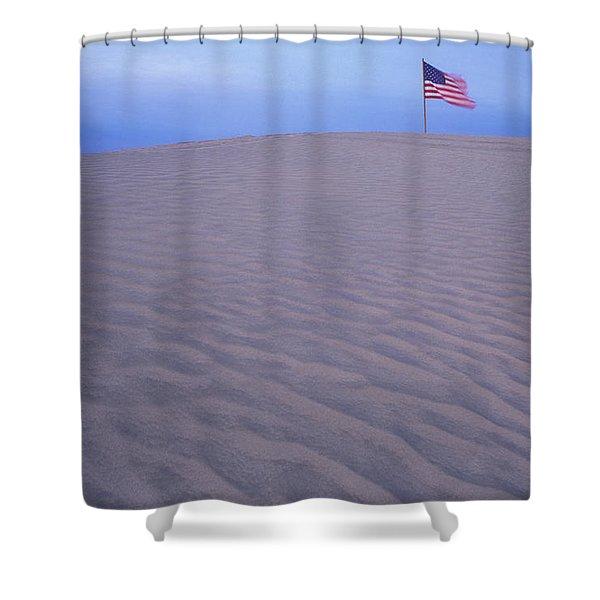 Sand Dunes American Flag Christmas Shower Curtain