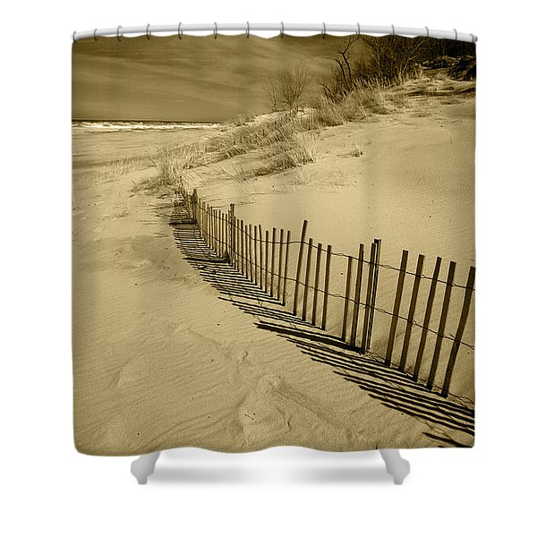 Sand Dunes And Fence Shower Curtain