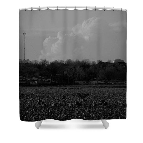 Sand Hill Cranes With Nebraska Thunderstorm Shower Curtain