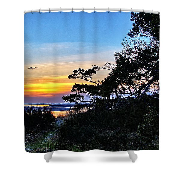 Sand Lake Sunset Shower Curtain