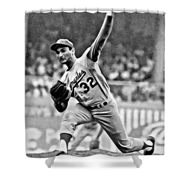Sandy Koufax Throwing The Ball Shower Curtain
