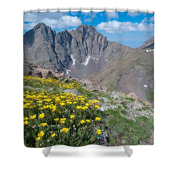 Sangre De Cristos Crestone Peak And Wildflowers Shower Curtain