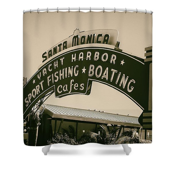 Shower Curtain featuring the photograph Santa Monica Pier Sign by David Millenheft
