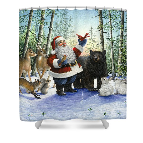 Santa's Christmas Morning Shower Curtain