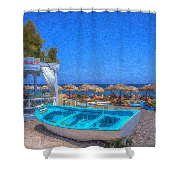 Santorini Beach Boat Grk4151 Shower Curtain