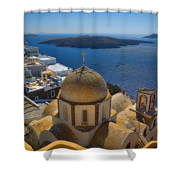Santorini Caldera With Church And Thira Village Shower Curtain
