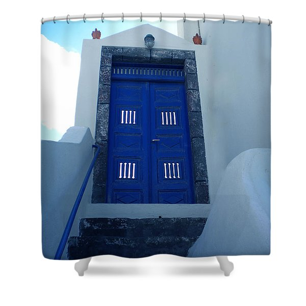 Santorini Door  To Heaven  Shower Curtain