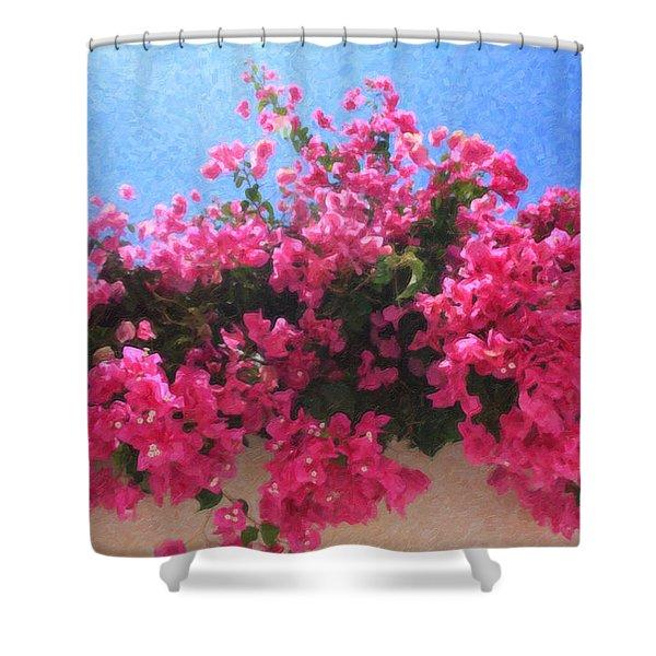 Santorini Flowers Grk1113 Shower Curtain