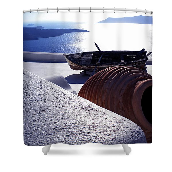 Santorini Island Early Sunset View Greece Shower Curtain