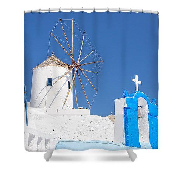 Santorini Windmill 01 Shower Curtain