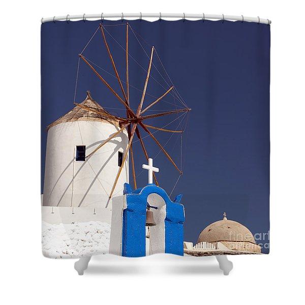 Santorini Windmill 04 Shower Curtain