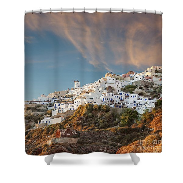 Santorini Windmill At Dusk Shower Curtain