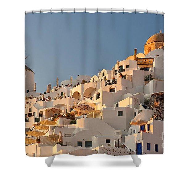 Santorini Windmill At Sunset Shower Curtain