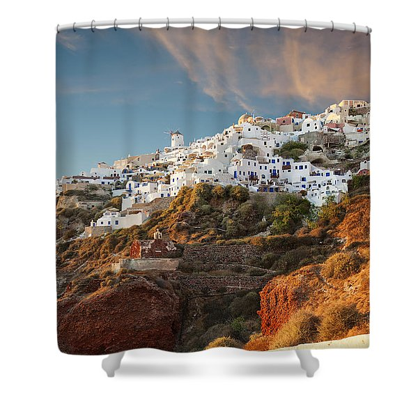 Santorini Windmill Sunset Shower Curtain