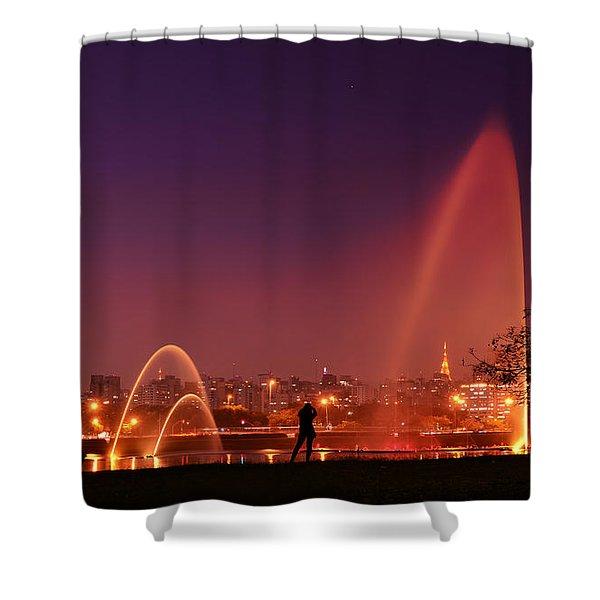 Sao Paulo - Ibirapuera Park At Dusk - Contemplation Shower Curtain