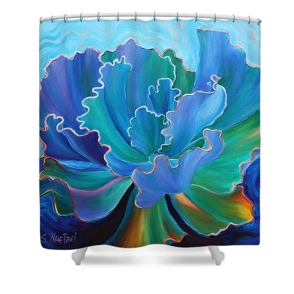 Shower Curtain featuring the painting Sapphire Solitaire by Sandi Whetzel