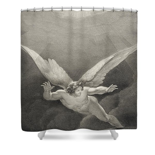 Satan Leaps Over The Walls Of Heaven Shower Curtain