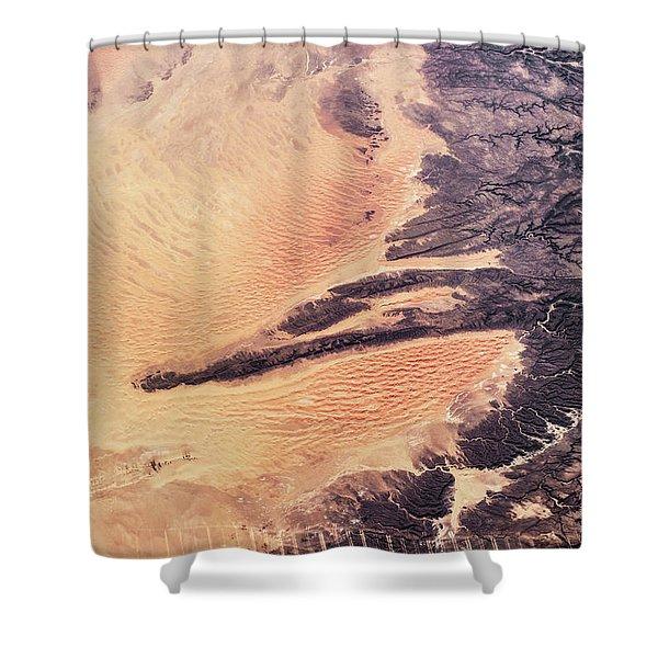 Satellite View Of Arid Landscape Shower Curtain