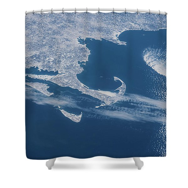 Satellite View Of Cape Cod Area Shower Curtain