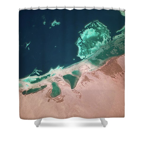 Satellite View Of Coastal Area And Red Shower Curtain