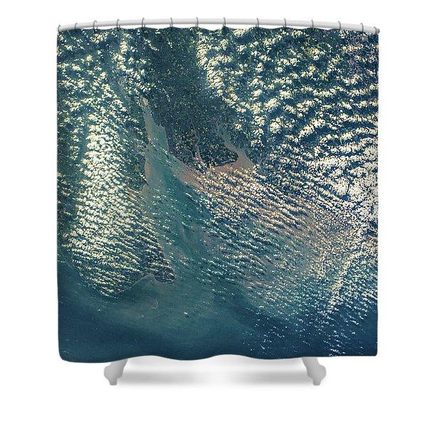 Satellite View Of Coastal Region Shower Curtain