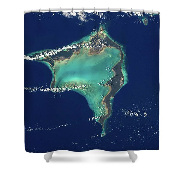 Satellite View Of Crooked Island Shower Curtain