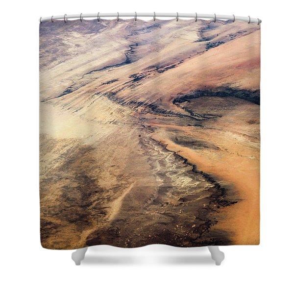 Satellite View Of Desert Area, New Shower Curtain