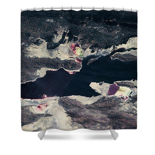 Satellite View Of Great Salt Lake Shower Curtain
