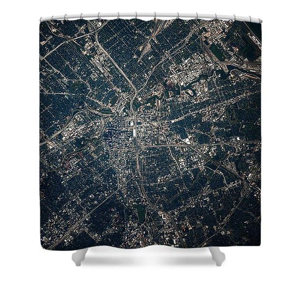 Satellite View Of Houston, Texas, Usa Shower Curtain
