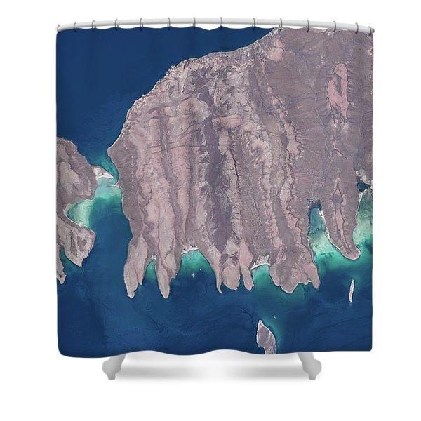 Satellite View Of Isla Del Espiritu Shower Curtain
