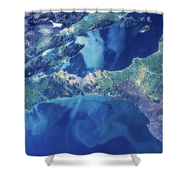 Satellite View Of Istanbul With Sea Shower Curtain