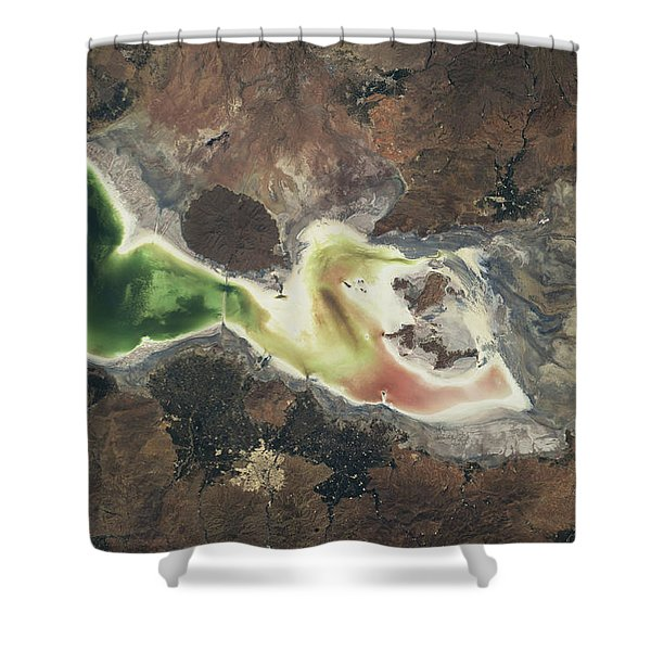Satellite View Of Lake Urmia In East Shower Curtain