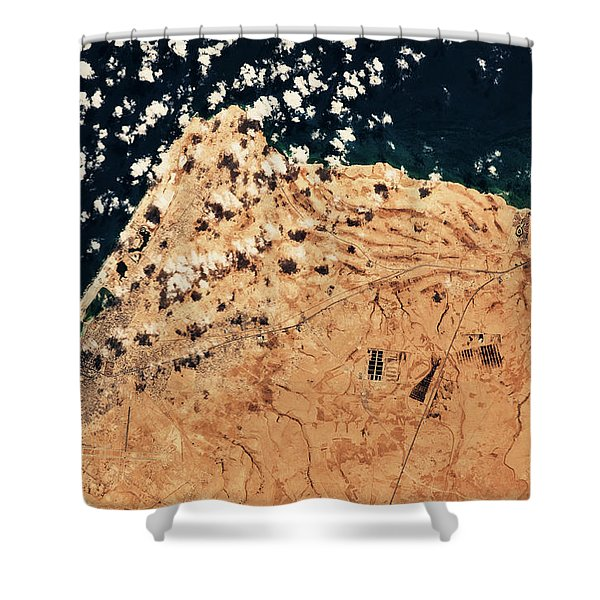 Satellite View Of Mersa Matruh Coastal Shower Curtain