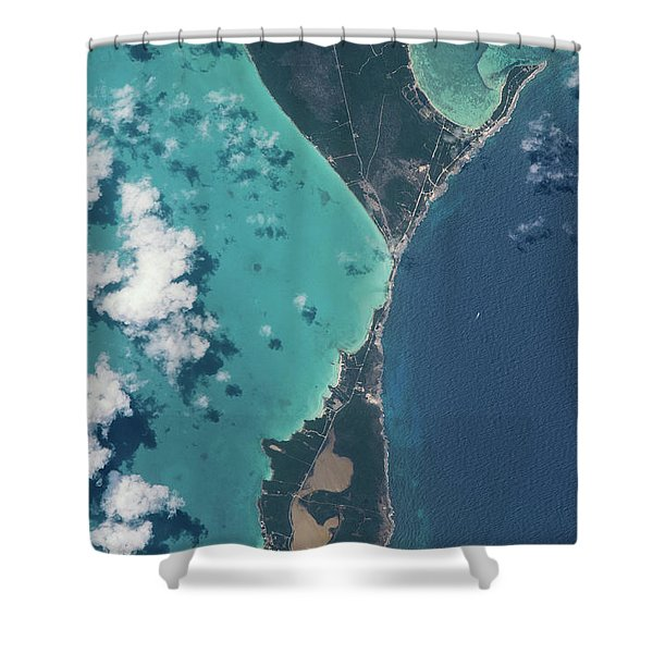 Satellite View Of North Eleuthera Shower Curtain