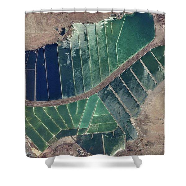 Satellite View Of Salt Evaporation Shower Curtain