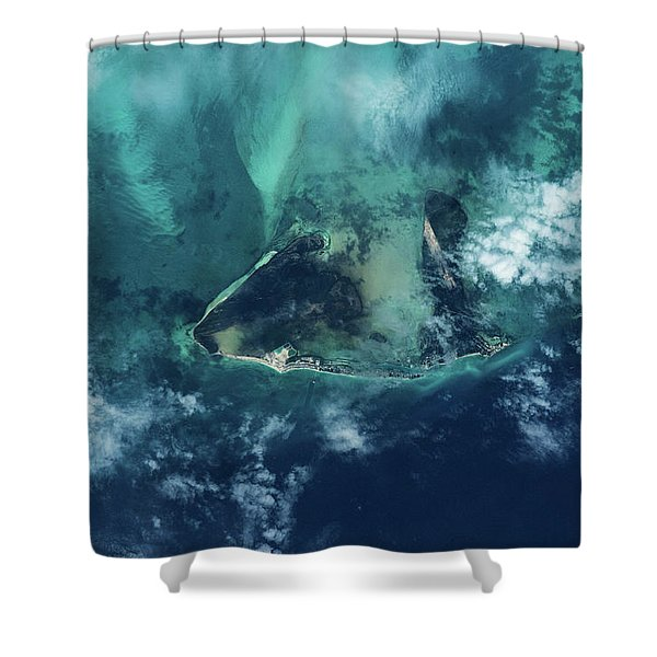Satellite View Of West Grand Bahama Shower Curtain