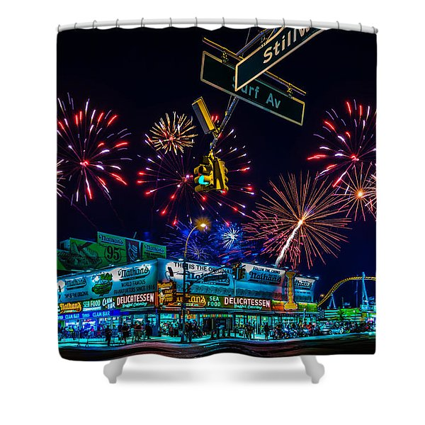 Saturday Night At Coney Island Shower Curtain