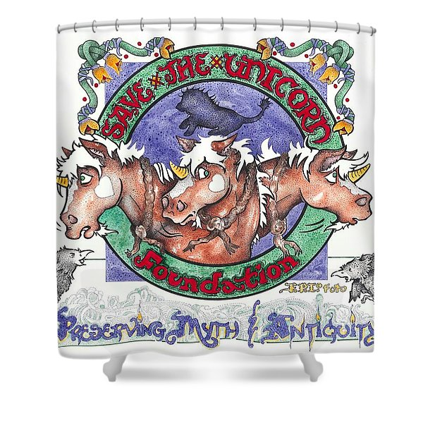 Real Fake News Save The Unicorn Foundation Foto Shower Curtain