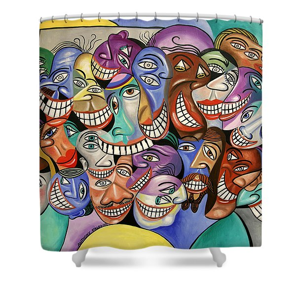 Shower Curtain featuring the painting Say Cheese by Anthony Falbo