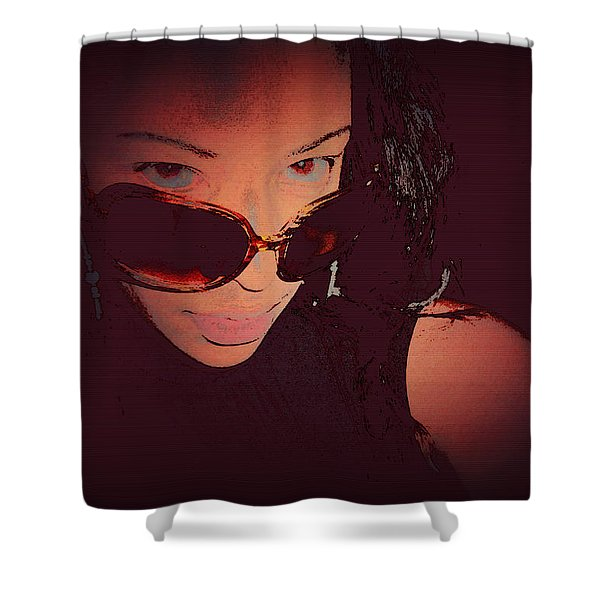 Futuristic Women Sunglasses Fashion Style Art Print Ai P. Nilson  Shower Curtain