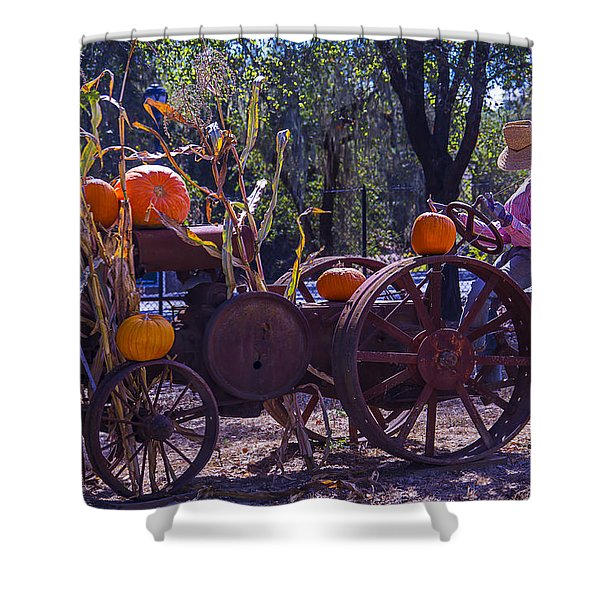 Scarecrow Sitting On Tractor Shower Curtain