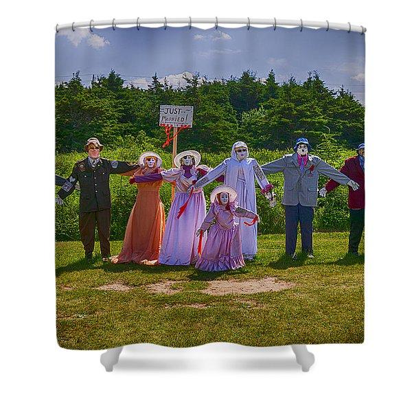 Scarecrow Wedding Shower Curtain