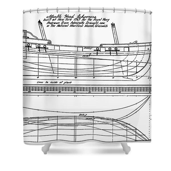 Schooner Plans, 1767 Shower Curtain