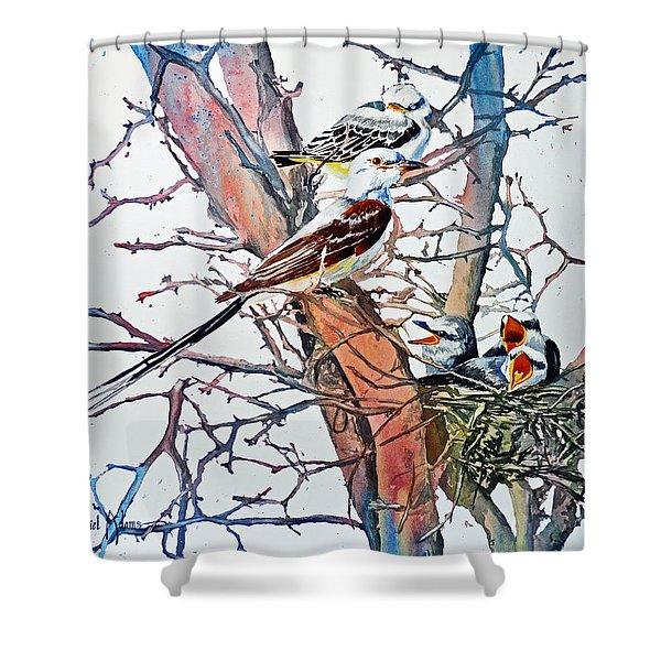 Da149 Scissortailed Flycatchers By Daniel Adams Shower Curtain