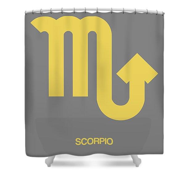 Scorpio Zodiac Sign Yellow On Grey Shower Curtain