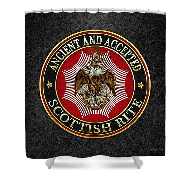 Scottish Rite Double-headed Eagle On Black Leather Shower Curtain