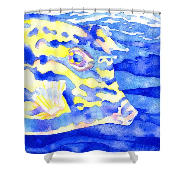 Scrawled Cowfish Portrait Shower Curtain