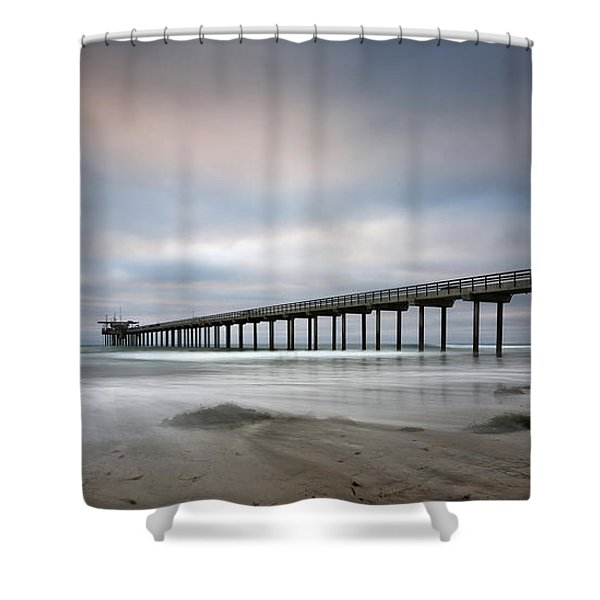 Scripps Pier Wide -lrg Print Shower Curtain