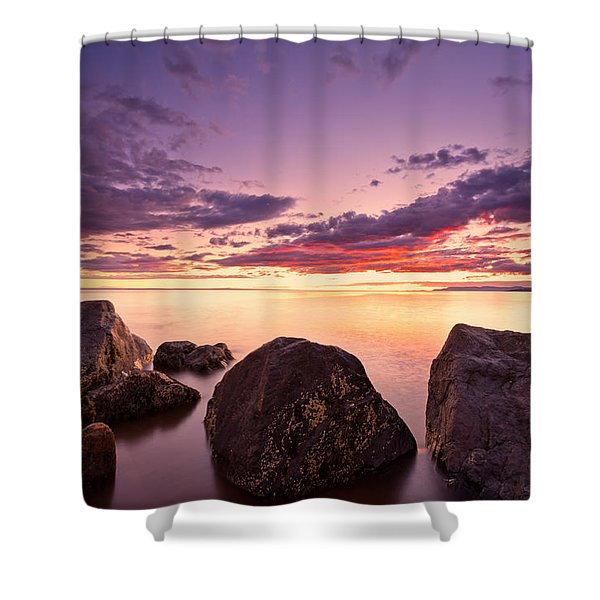 Sea At Sunset The Sky Is In Beautiful Dramatic Color Shower Curtain